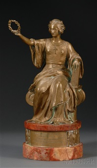 bronze and marble presentation figure by johannes götz