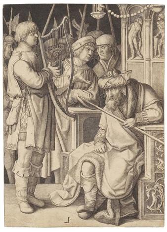 david spielt vor saul by lucas van leyden
