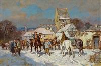 viehmarkt im winter vor malerischem dorf by wilhelm velten