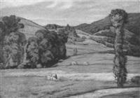 landschaft bei obersasbach, im vordergrund eine bäuerin beim heuen by walter conz