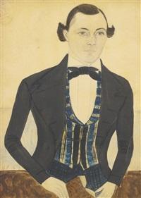 three-quarter length portrait of a gentleman in a plaid vest by jane anthony davis