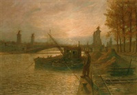barges on the seine before pont alexandre iii with the eiffel tower beyond by jean-joseph enders