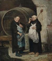 zwei mönche im weinkeller by adolf humborg