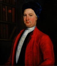 portrait of a doctor, standing in a library interior, wearing a blue velvet hat and red coat, over a tied white stock by cosmo alexander