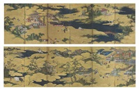 the twenty-four paragons of filial piety (nijushi-ko) (pair in 12 parts) by japanese school-kano (17)