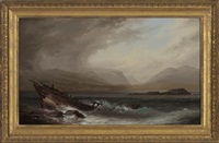 seascape with ship wreck by xanthus russell smith