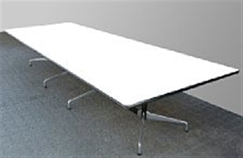 Conference Table In Two Sections With Black Lacquered And Chromed - White laminate conference table