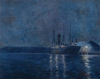 untitled (nocturnal shipping scene) by charles david jones bryant