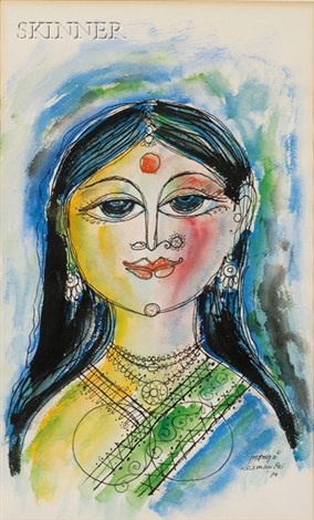 woman with bird by laxman pai