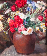 flowers in a terracotta jug by dorothy hepworth