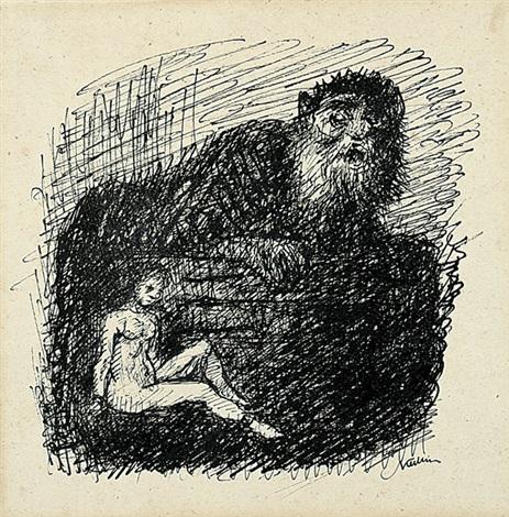 riese und sitzender weiblicher akt rübezahl 1944 lithograph lrgr 2 works by alfred kubin