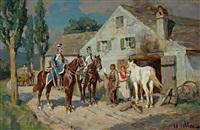 einquartierung. kavalleristen vor einer hufschmiede by wilhelm velten