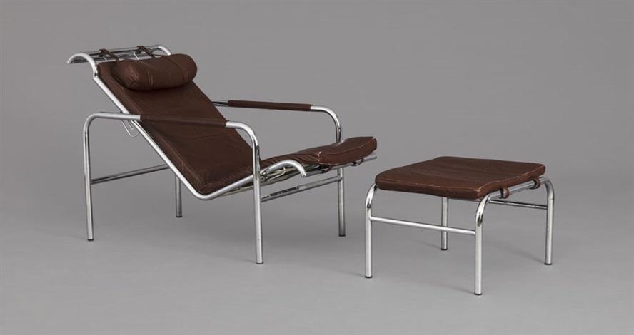 chaise longue et son repose pieds model genni set of 2 by