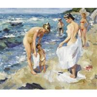 strandpartie mit badenden by nadejda noukalo