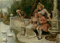parkszene mit zwei eleganten paaren in kostümen des 18. jh. by antonio lonza
