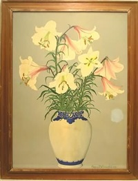 lilies in a vase (+ peonies in a vase; pair) by margaret mellor-gill