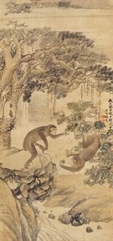 猴戏图 镜片 绢本 by ren yu