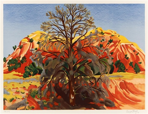 ohne titel (dead tree with pink hill) by georgia o'keeffe