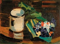 still life with mug and flowers by flora itwan shofield