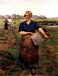holländische bäuerin auf dem feld by pierre petit-gérard