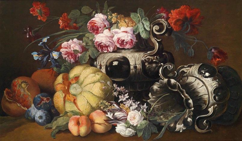 ein blumen und obststillleben mit zwei barocken prunkvasen by abraham brueghel
