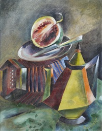 stillleben mit kanne, akkordeon und wassermelone by erich metzold