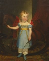 portrait of a blond curly-haired boy with a rocking horse: quincy adams shaw as a boy by francis alexander