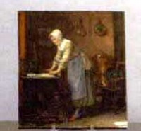 interior scene of a woman in a kitchen by adolphe charles edouard steinheil
