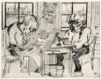 zigarrenmacher. altes ehepaar bei der heimarbeit. blatt 6 aus der folge erlebnisse by bernhard kretzschmar