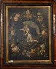 guirlande de fleurs entourant un médaillon avec une jeune femme by andries daniels