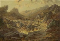 ziehende soldaten in felsiger gebirgslandschaft (albanien?) by karl haase