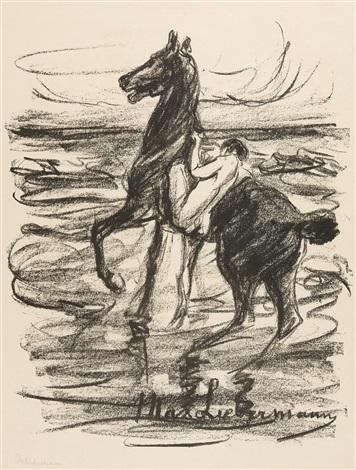 nackter reiter am strande by max liebermann