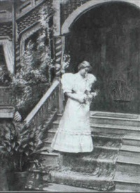 woman in white descending an outside staircase by louise willis snead