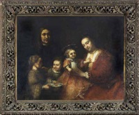 family group, in elegant attire by rembrandt van rijn