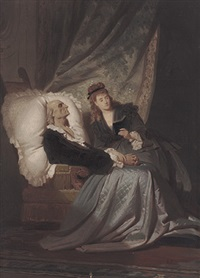 junge frau am krankenlager des vaters by ferdinand piloty the younger