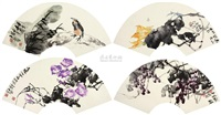 花鸟 (birds and flowers) (set of 4) by pei yulin