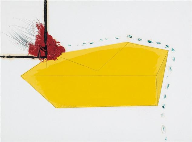 prospettiva in giallo con grumo rosso by nino aimone