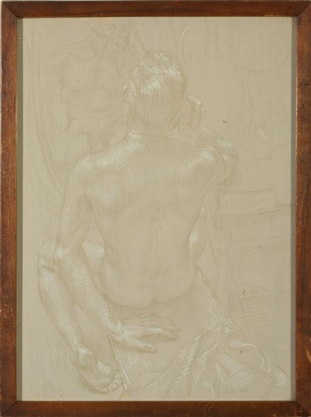 male nude seated at a mirror by paul cadmus