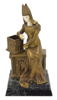 a lady in medieval attire seated next to a box on a gothic style bench by xavier raphanel