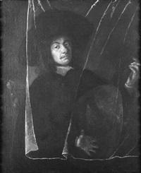 bildnis eines lautenspielers, der hinter einem durchsichtigen vorhang steht. er trägt einen breitkrempigen hut by barent fabritius