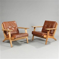 ge 290 easy chairs (pair) by hans j. wegner