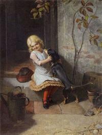 kleines mädchen mit ihrem dackel by carl rohde