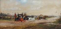 a stagecoach in a landscape by philip h. rideout