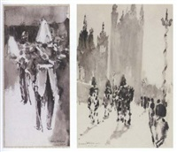 guardsmen (+ study of a guardsman, smaller; 2 works) by felix fabian