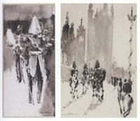 guardsmen (+ study of a guardsman, smaller; 2 works) by felix fabian