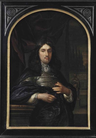 portrait of a gentleman leaning on a ballustrade three quarter length in a dark blue coat before a red curtain a garden with statues beyond by eglon hendrik van der neer