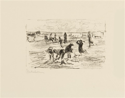 spielende kinder am strande by max liebermann