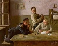drei soldaten auf der stube by karl müller