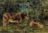 landschaft mit weidenden kühen by charles edmond renault