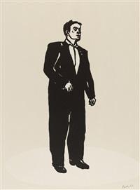 stehender mann / frau mit weisser jacke / teddy / frau mit weisser bluse / kopf (komplette folge von 5 blatt) by stephan balkenhol
